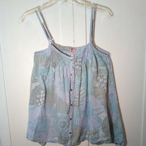 Large O'NEILL tank top, light blue with flowers